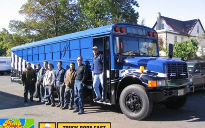 Truck Body East pimps School Bus for Pequannock High School
